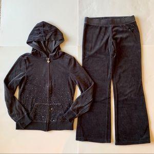 Justice 12 black velour hoodie jacket and pants